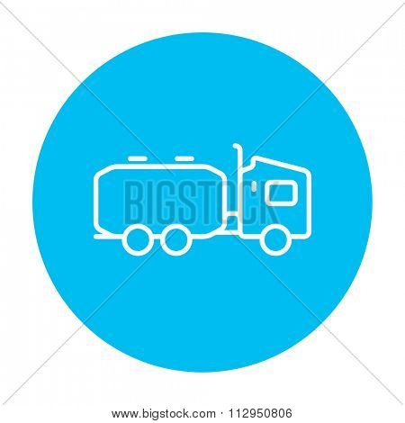 Truck liquid cargo line icon for web, mobile and infographics. Vector white icon on the light blue circle isolated on white background.