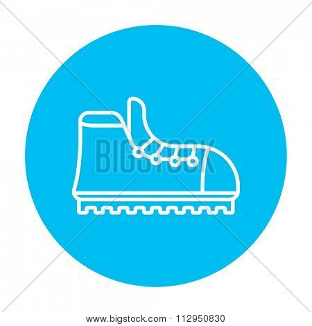 Hiking boot with crampons line icon for web, mobile and infographics. Vector white icon on the light blue circle isolated on white background.