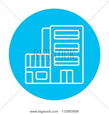 Hotel building line icon for web, mobile and infographics. Vector white icon on the light blue circle isolated on white background.