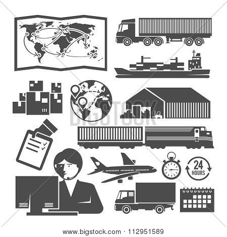 Vector black and white logistics icons
