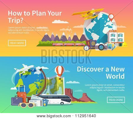 Vector travel advertising banners