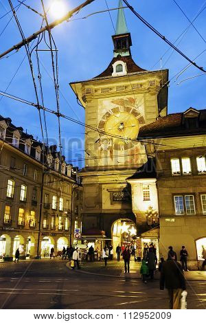 The Clock Tower In Bern, Night View