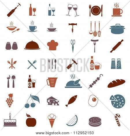 Kitchen tools or elements icon set. Food, drink and cooking symbols. Elements for restaurant design.