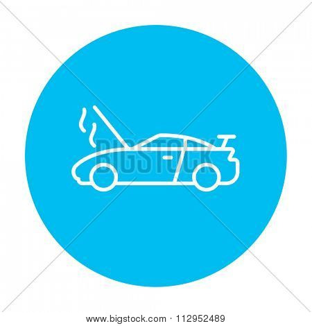 Broken car with open hood line icon for web, mobile and infographics. Vector white icon on the light blue circle isolated on white background.