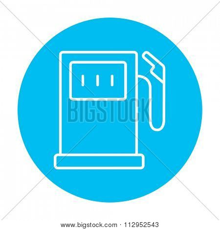 Gas station line icon for web, mobile and infographics. Vector white icon on the light blue circle isolated on white background.