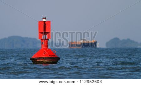 Close Up Of A Red Navigational Buoy