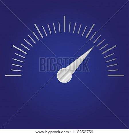 Speedometer or tachometer with metallic arrow. Infographic gauge element. Vector icon or sign.
