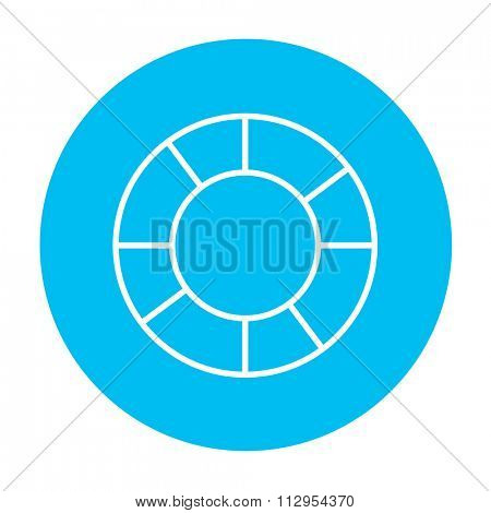 Lifebuoy line icon for web, mobile and infographics. Vector white icon on the light blue circle isolated on white background.
