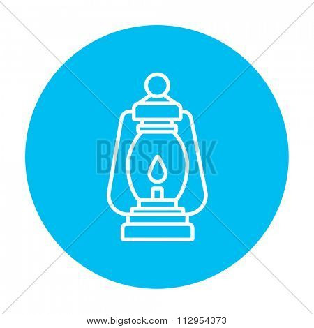 Camping lantern line icon for web, mobile and infographics. Vector white icon on the light blue circle isolated on white background.