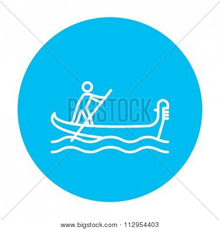Sailor rowing a boat line icon for web, mobile and infographics. Vector white icon on the light blue circle isolated on white background.