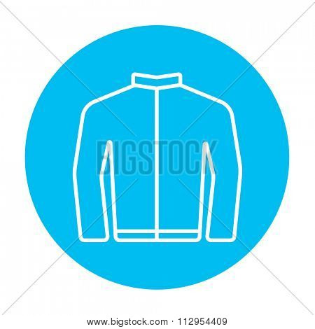 Biker jacket line icon for web, mobile and infographics. Vector white icon on the light blue circle isolated on white background.