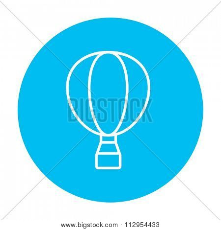 Hot air balloon line icon for web, mobile and infographics. Vector white icon on the light blue circle isolated on white background.