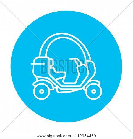Rickshaw line icon for web, mobile and infographics. Vector white icon on the light blue circle isolated on white background.