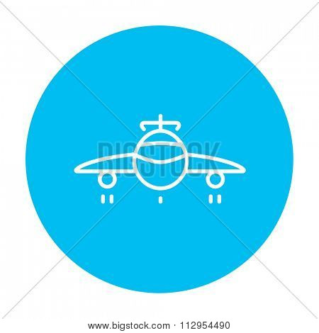 Airplane line icon for web, mobile and infographics. Vector white icon on the light blue circle isolated on white background.