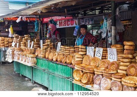 Bread vendors at Osh Bazaar