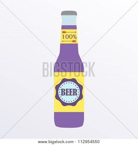 Beer bottle icon with label. Colorful vector beer bottle illustration. Flat design.