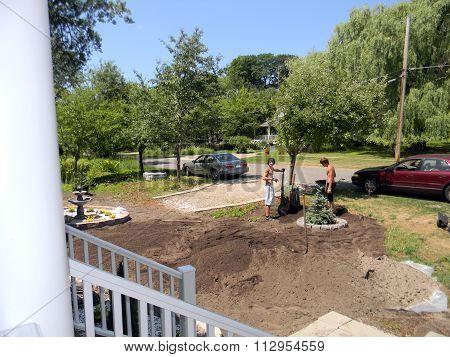 Gardeners Landscape a Yard