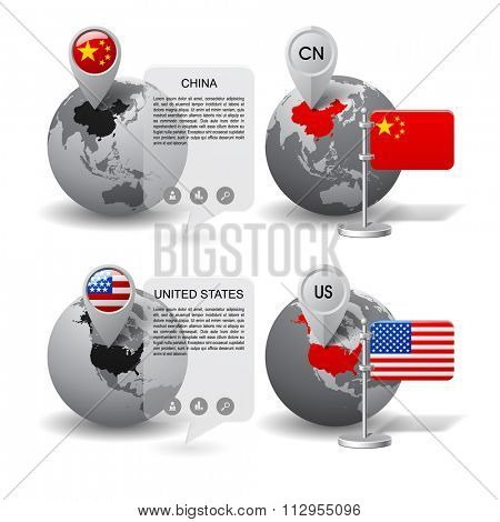 Gray globes with designation of China and United States location, with map markers and state table flags. Vector illustration