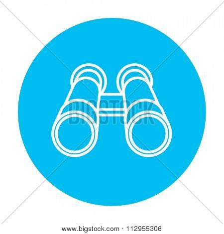 Binocular line icon for web, mobile and infographics. Vector white icon on the light blue circle isolated on white background.