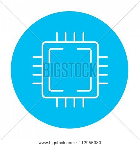 CPU line icon for web, mobile and infographics. Vector white icon on the light blue circle isolated on white background.