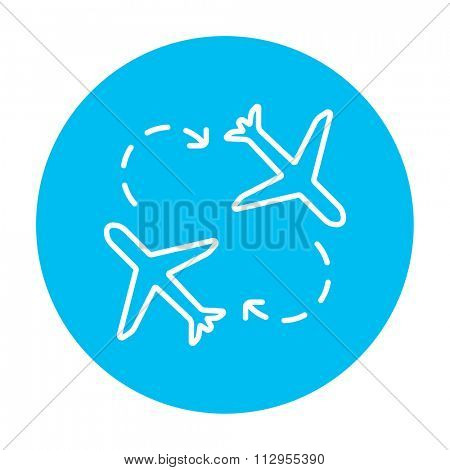 Airplanes line icon for web, mobile and infographics. Vector white icon on the light blue circle isolated on white background.