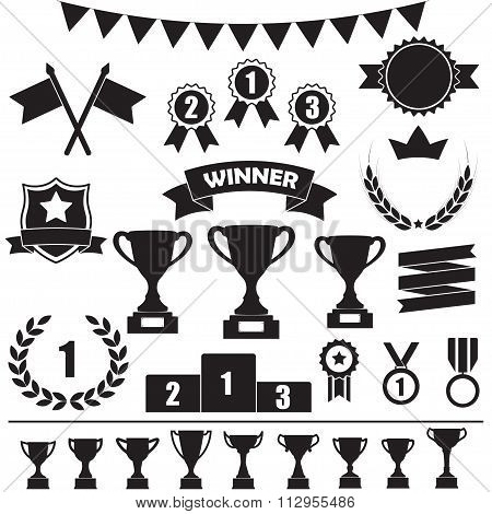 Trophy and awards icon set: laurel wreath, winning trophy cup, crown, medals, pedestal, flags.
