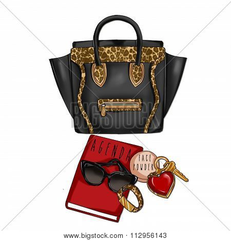 Raster Illustration of Black Leather and Animal Print with agenda, sunglasses, face powder and keys