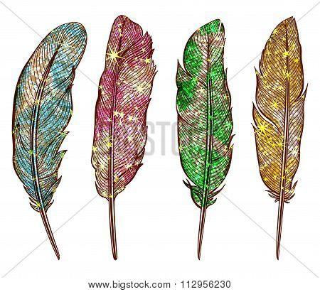 Set of isolated shining feathers, metallic effect. Vector, EPS10