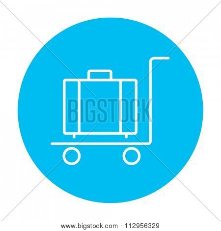 Luggage on a trolley line icon for web, mobile and infographics. Vector white icon on the light blue circle isolated on white background.