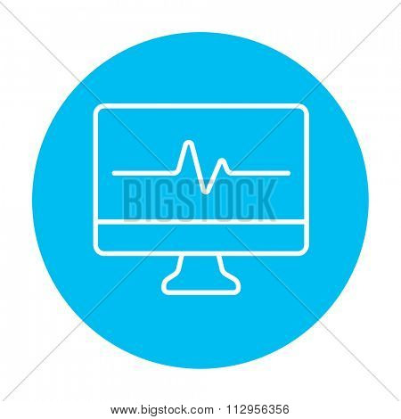 Heart beat monitor line icon for web, mobile and infographics. Vector white icon on the light blue circle isolated on white background.