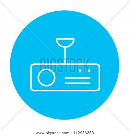 Digital projector line icon for web, mobile and infographics. Vector white icon on the light blue circle isolated on white background.