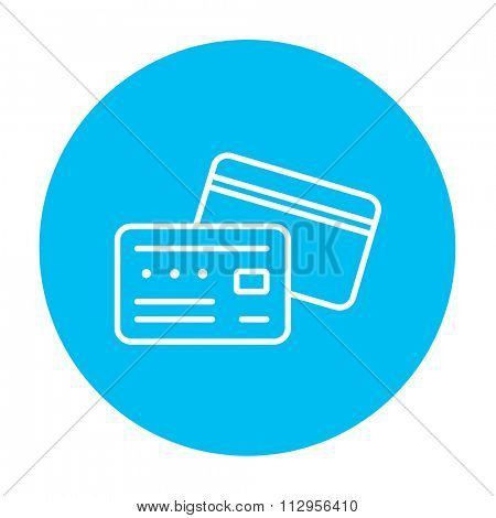 Credit card line icon for web, mobile and infographics. Vector white icon on the light blue circle isolated on white background.