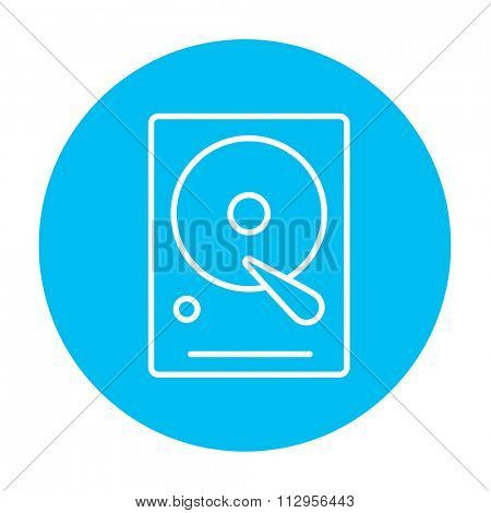 Hard disk line icon for web, mobile and infographics. Vector white icon on the light blue circle isolated on white background.
