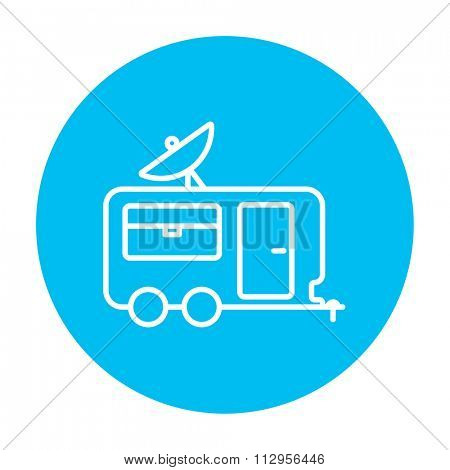 Caravan with satellite dish line icon for web, mobile and infographics. Vector white icon on the light blue circle isolated on white background.