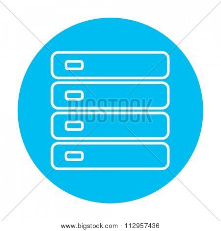 Computer server line icon for web, mobile and infographics. Vector white icon on the light blue circle isolated on white background.