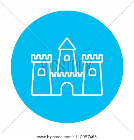 Sandcastle line icon for web, mobile and infographics. Vector white icon on the light blue circle isolated on white background.