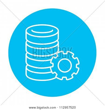 Server with gear line icon for web, mobile and infographics. Vector white icon on the light blue circle isolated on white background.