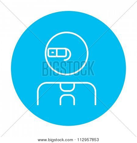 Man in augmented reality glasses line icon for web, mobile and infographics. Vector white icon on the light blue circle isolated on white background.