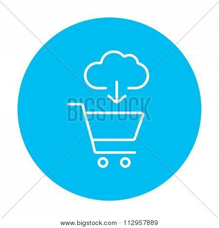Cloud with arrow pointing at shopping cart line icon for web, mobile and infographics. Vector white icon on the light blue circle isolated on white background.