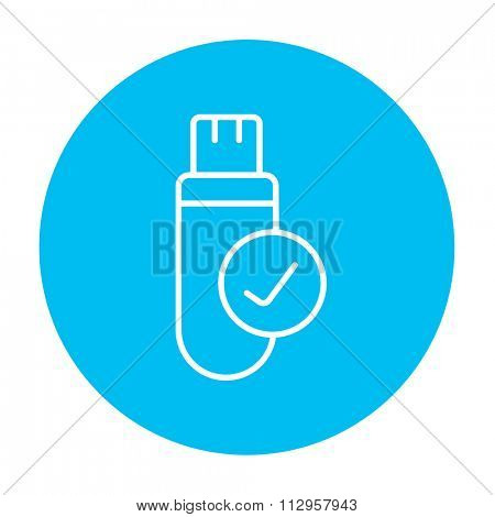 USB flash drive line icon for web, mobile and infographics. Vector white icon on the light blue circle isolated on white background.