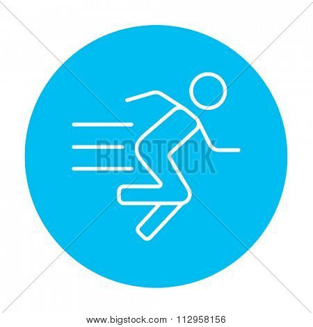 Running man line icon for web, mobile and infographics. Vector white icon on the light blue circle isolated on white background.