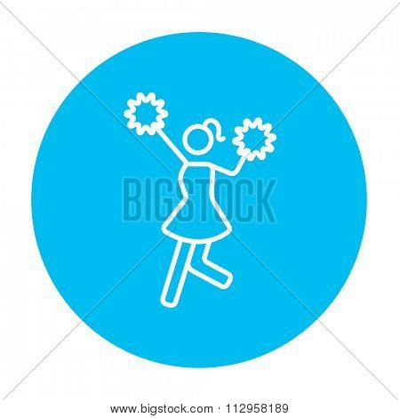 Cheerleader line icon for web, mobile and infographics. Vector white icon on the light blue circle isolated on white background.