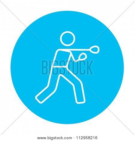 Male boxer line icon for web, mobile and infographics. Vector white icon on the light blue circle isolated on white background.