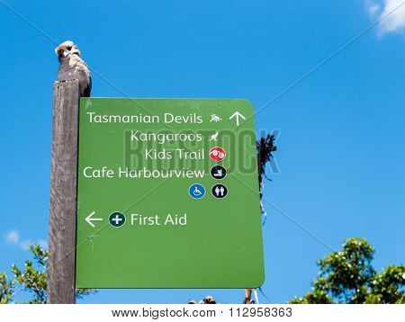 Directional sign pole at Taronga Zoo in Sydney