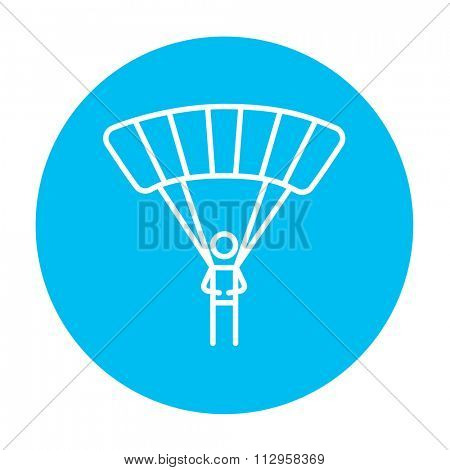 Skydiving line icon for web, mobile and infographics. Vector white icon on the light blue circle isolated on white background.