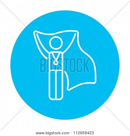 Medalist standing with flag line icon for web, mobile and infographics. Vector white icon on the light blue circle isolated on white background.