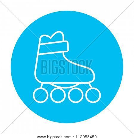 Roller skate line icon for web, mobile and infographics. Vector white icon on the light blue circle isolated on white background.