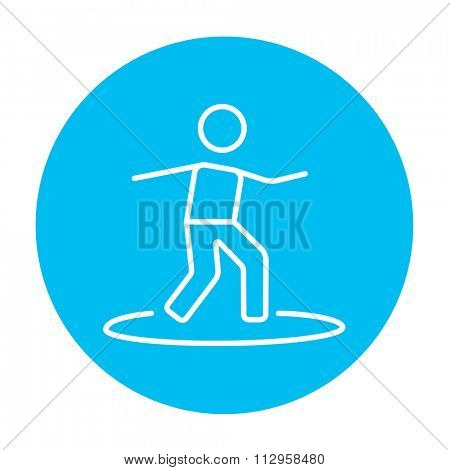 Male surfer riding on surfboard line icon for web, mobile and infographics. Vector white icon on the light blue circle isolated on white background.