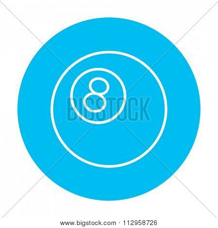 Billiard ball line icon for web, mobile and infographics. Vector white icon on the light blue circle isolated on white background.