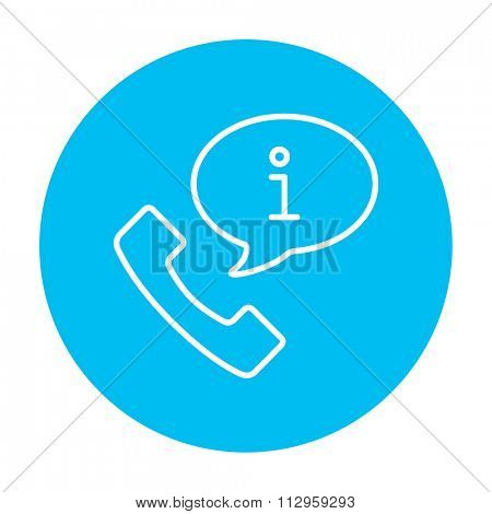 Handset with information sign line icon for web, mobile and infographics. Vector white icon on the light blue circle isolated on white background.